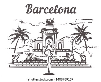 Barcelona sketch skyline. Barcelona,  Spain hand drawn vector illustration. Isolated on white background. Citadel Park, Sagrada Familia, Agbar Tower, Temple of the Sacred Heart