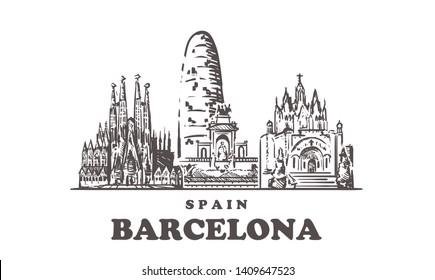 Barcelona sketch skyline. Barcelona,  Spain hand drawn vector illustration. Isolated on white background.