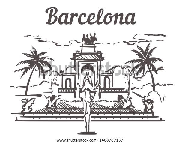 バルセロナのスケッチ天窓 バルセロナ スペインの手描きのベクターイラスト 白い背景に シタデルパーク サグラダファミリア アグバルタワー 聖心の神殿 のベクター画像素材 ロイヤリティフリー