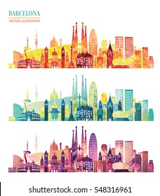 Barcelona skyline detailed silhouette. Travel and tourism background. Vector illustration