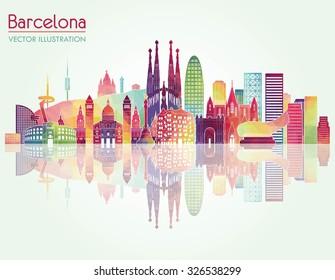 Barcelona skyline detailed silhouette. Vector illustration