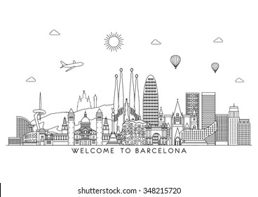 Barcelona skyline detailed silhouette. Vector background. line illustration
