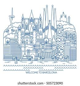 Barcelona skyline detailed silhouette. Vector line illustration