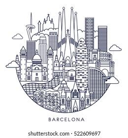 Barcelona skyline detailed silhouette. Vector background. line illustration