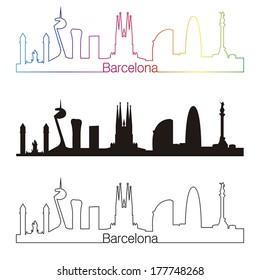Barcelona skyline linear style with rainbow in editable vector file