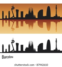 Barcelona Skyline in orange background in editable vector file