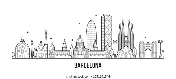 Barcelona skyline, Spain. This illustration represents the city with its most notable buildings. Vector is fully editable, every object is holistic and movable
