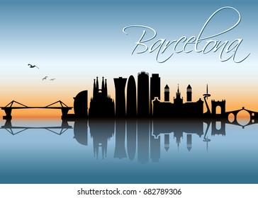 Barcelona skyline - Spain - vector illustration