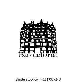 Barcelona, Spain 01/19/2020 Vector illustration. House of Casa Mila. Black silhouette on a white background. La Pedrera - house designed by Antoni Gaudi. Barcelona Attractions.