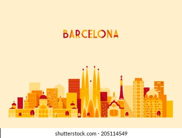 Barcelona Spain big city skyline vector silhouette illustration, flat style