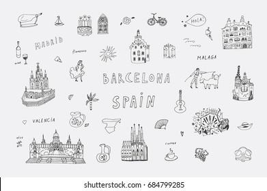 Barcelona Spain city doodle objects cartoon vector city illustrations set