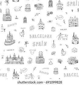 Barcelona Spain city doodle objects cartoon vector city seamless pattern