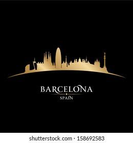 Barcelona Spain city skyline silhouette. Vector illustration
