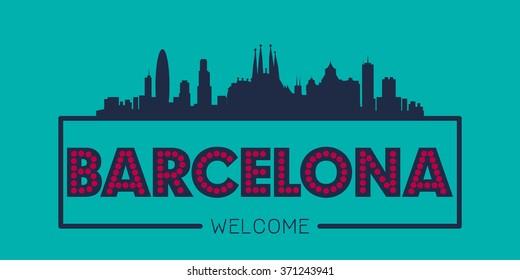 Barcelona Spain city skyline silhouette vector design