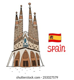 BARCELONA, SPAIN - FEB 16, 2015: La Sagrada Familia designed by Gaud. Vector illustration