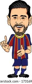 BARCELONA, SPAIN - MAY 07, 2020: Lionel Messi, an Argentine professional footballer. Vector Caricature