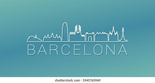 Barcelona, Spain Skyline Linear Design. Flat City Illustration Minimal Clip Art. Background Gradient Travel Vector Icon.
