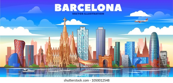Barcelona ( Spain ) skyline with panorama in white background. Vector Illustration. Business travel and tourism concept with modern buildings.  Image for presentation, banner, web site.