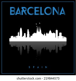 Barcelona, Spain skyline silhouette vector design on black background.