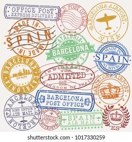 Barcelona Spain Stamp Vector Art Postal Passport Design