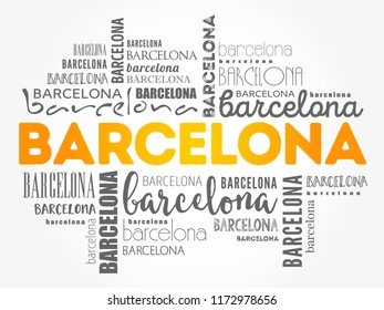 Barcelona wallpaper word cloud, travel concept background