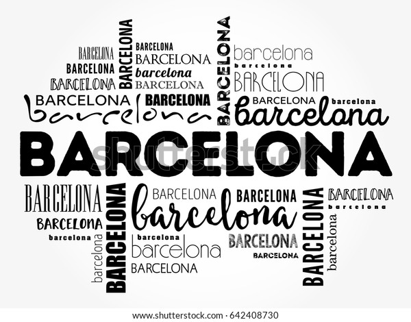 Barcelona Wallpaper Word Cloud Travel Concept Stock Vector
