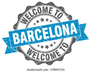 Barcelona. Welcome to Barcelona stamp