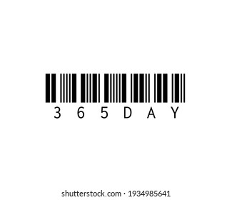 Barcode 365 days. T shirt design work. Communicate that there are 365 days in a year. It is an image used in the idea work. Used for screen printing on products and products mockup.