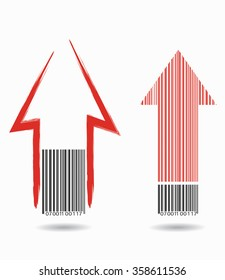 Barcode with arrows, abstract concept illustration for your design