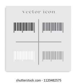 Barcode flat black and white vector icon.