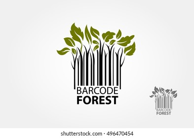 Barcode Forest Vector Logo Template. Forest logo symbol stylized as barcode. Barcode Finder Vector Logo is a designed for Any types of companies. It is made by simple shapes and looks professional.