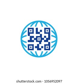 Barcode Globe Logo Icon Design