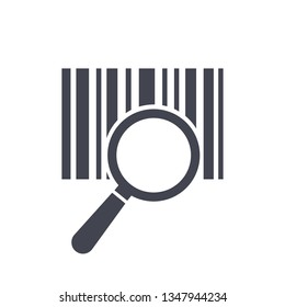 Barcode icon isolated sign symbol with magnifying glass. Flat line style for app, web and digital design – vector