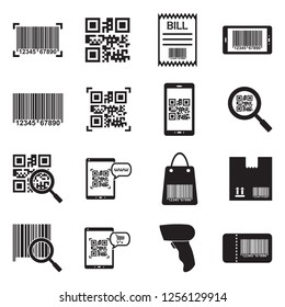 Barcode Icons. Black Flat Design. Vector Illustration.