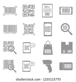 Barcode Icons. Gray Flat Design. Vector Illustration.