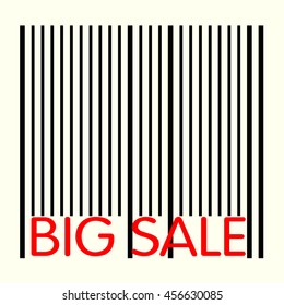 "Barcode with inscription ""big sale"" - black red composition on yellow square - banner or label for seasonal or special selling"