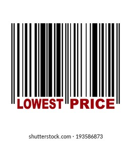 Barcode with label Lowest Price in red color