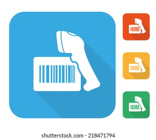 Barcode label with reader scanner icon multi color set for scanning process on the retail shop or logistics warehouse. Vector scanner icon for bar code scan and barcode price tracking