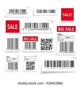 Barcode label and sale vector set