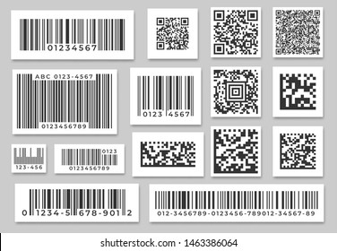 Barcode labels. Code stripes sticker, digital bar label and retail pricing bars labeling stickers. Industrial barcodes, customers qr code. Isolated symbols vector set