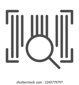 Barcode line icon. Barcode with lens vector illustration isolated on white. Code outline style design, designed for web and app. Eps 10