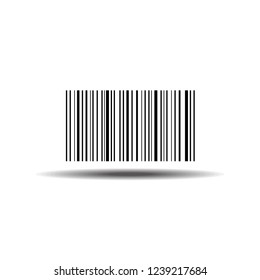 """Barcode. Barcode with meaning: """"this is barcode"""". Barcode template - stock vector illustration isolated on white background with shadow.Made in... on abstract  security pattern background"""