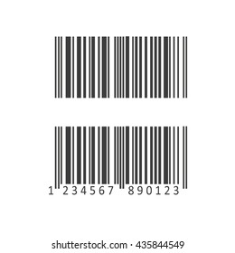 Barcode and number icon. Flat vector illustration in black on white background. EPS 10