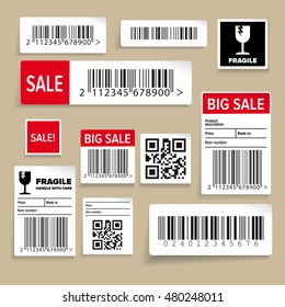 Barcode Packaging Labels or stickers vector