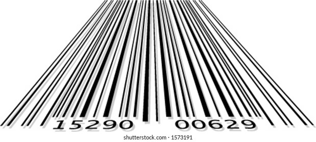 Barcode in perspective format with slight shadow
