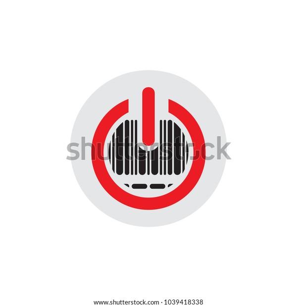 Barcode Power Logo Icon Design