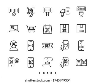 Barcode and QR code scan line icon set vector