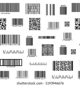 Barcode and QR Code Seamless Pattern Background on a White Data, Information, Price and Identification Product. Vector illustration of Barcodes