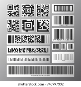 Barcode and QR code set. Collection various barcodes and qr codes on white stickers. Vector illustration.