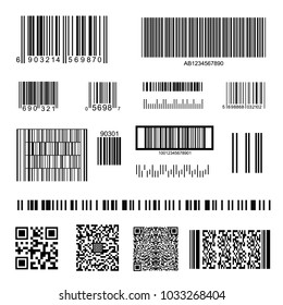 Barcode and QR Code Set Isolated on White Background Data, Information, Price and Identification Product. Vector illustration of Barcodes
